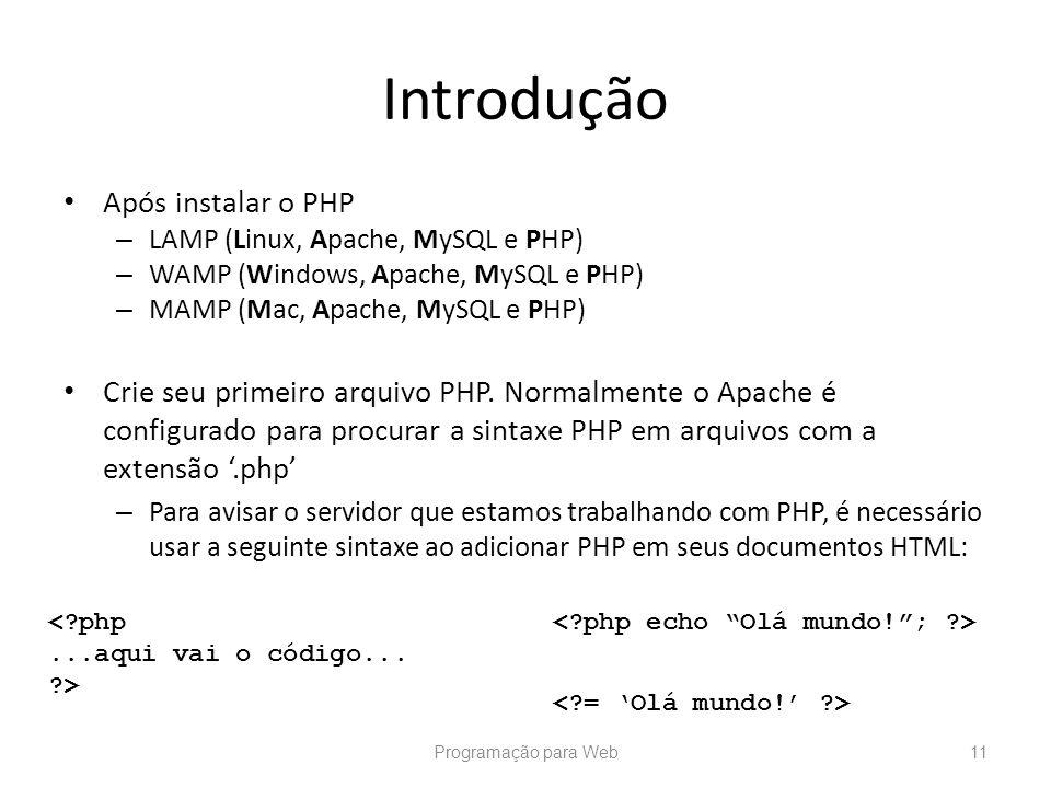 Introdução Após instalar o PHP