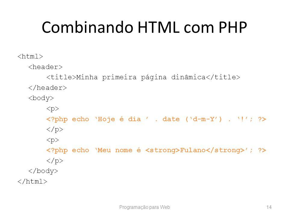 Combinando HTML com PHP