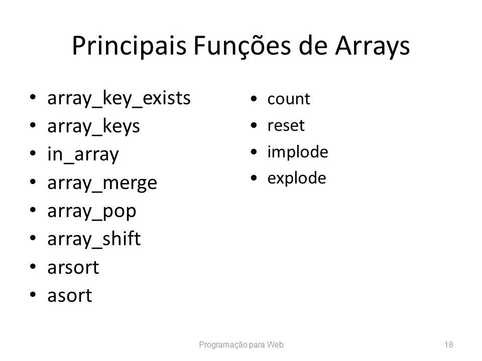 Principais Funções de Arrays