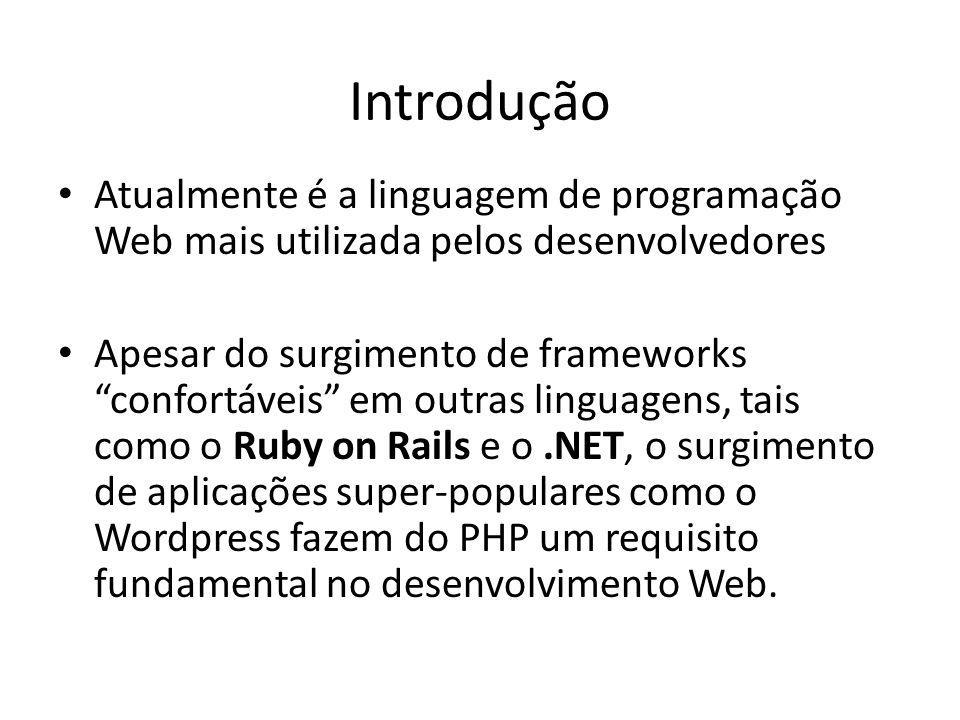 Introdução Atualmente é a linguagem de programação Web mais utilizada pelos desenvolvedores.