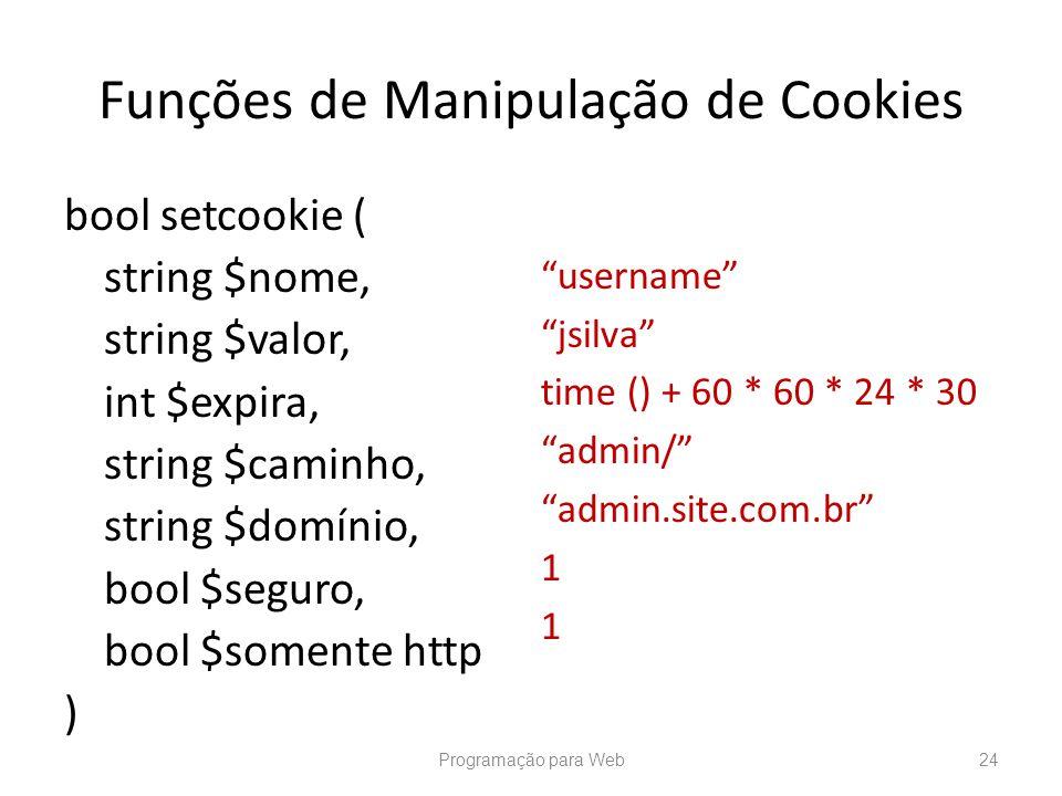 Funções de Manipulação de Cookies