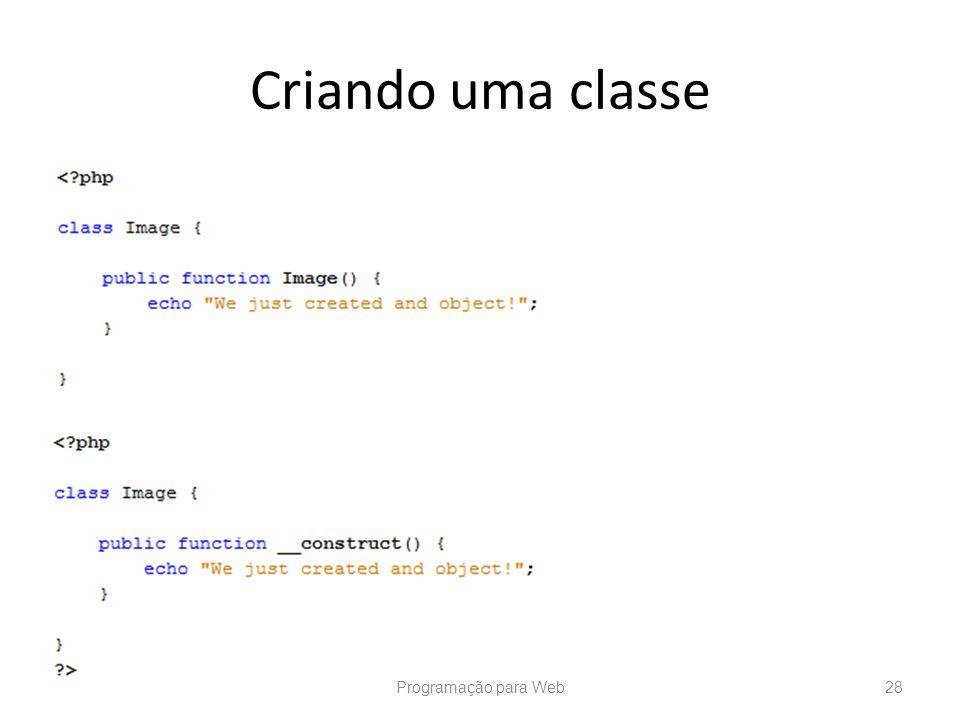 Criando uma classe Programação para Web
