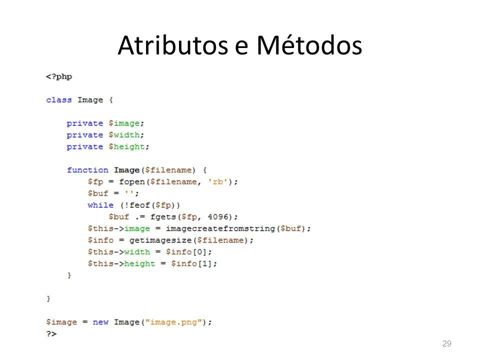 Atributos e Métodos Programação para Web