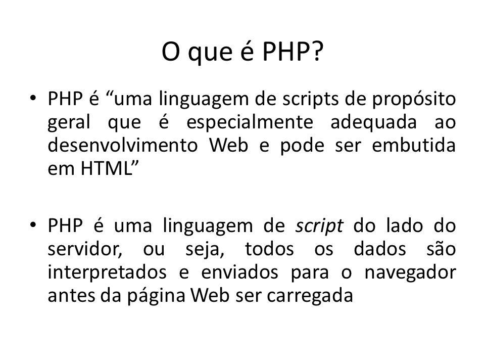 O que é PHP PHP é uma linguagem de scripts de propósito geral que é especialmente adequada ao desenvolvimento Web e pode ser embutida em HTML