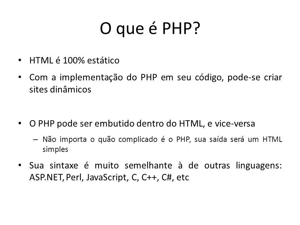 O que é PHP HTML é 100% estático