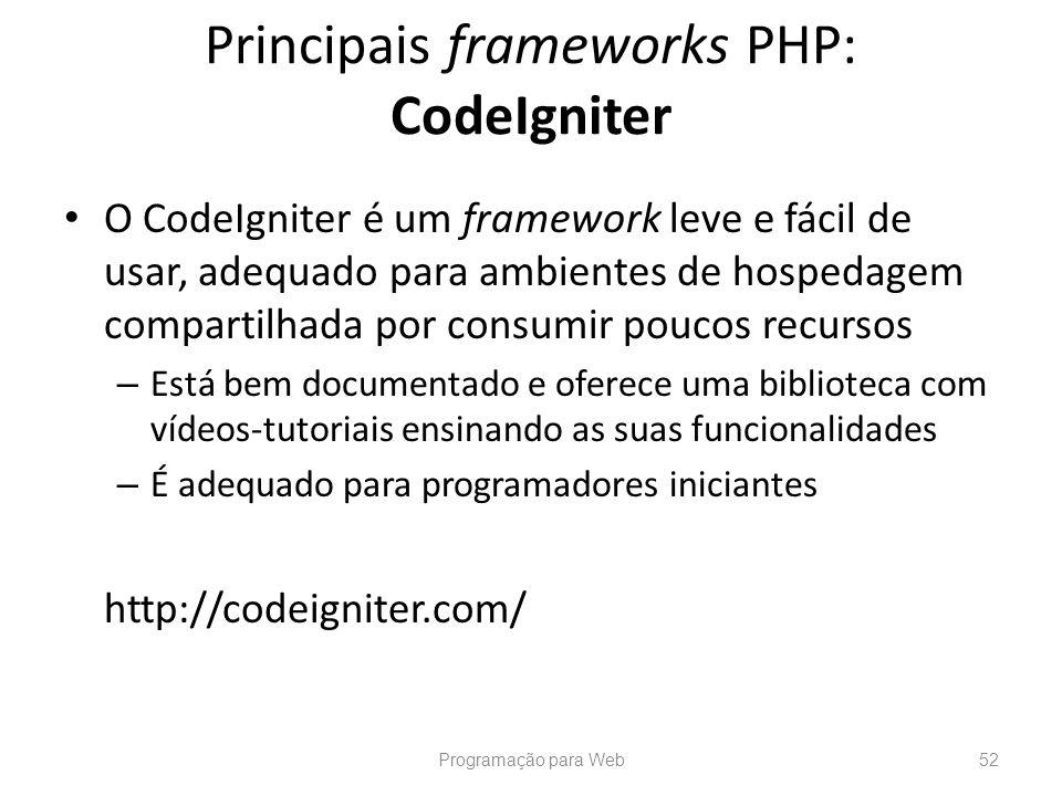 Principais frameworks PHP: CodeIgniter