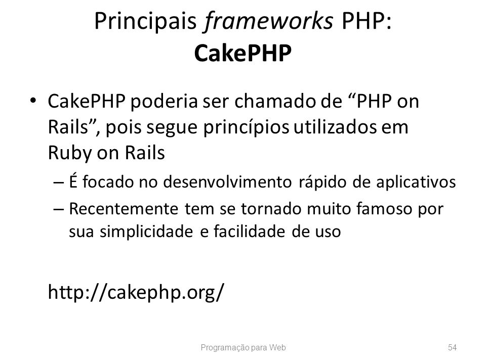 Principais frameworks PHP: CakePHP