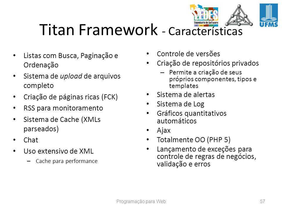 Titan Framework - Características