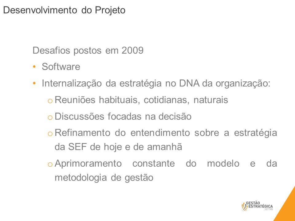 Desafios postos em 2009 Software. Internalização da estratégia no DNA da organização: Reuniões habituais, cotidianas, naturais.