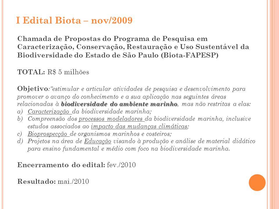 I Edital Biota – nov/2009