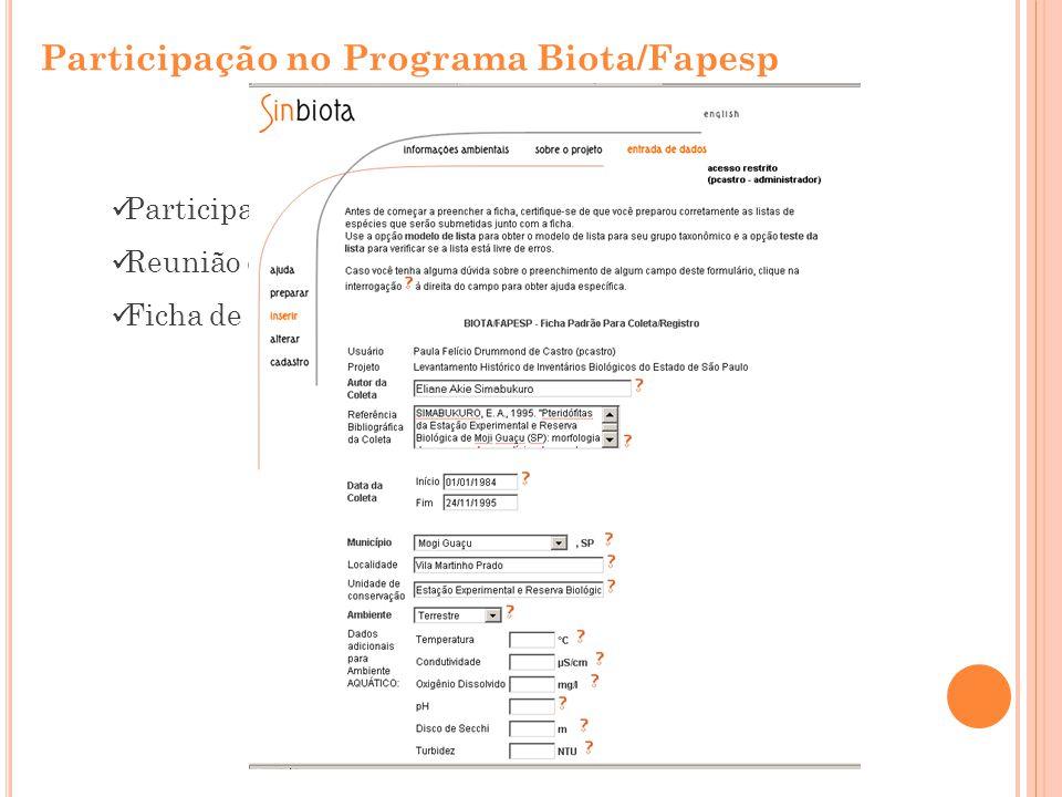 Participação no Programa Biota/Fapesp