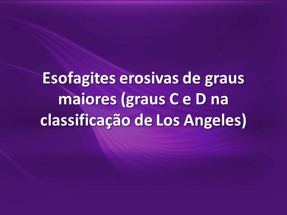 Esofagites erosivas de graus maiores (graus C e D na classificação de Los Angeles)