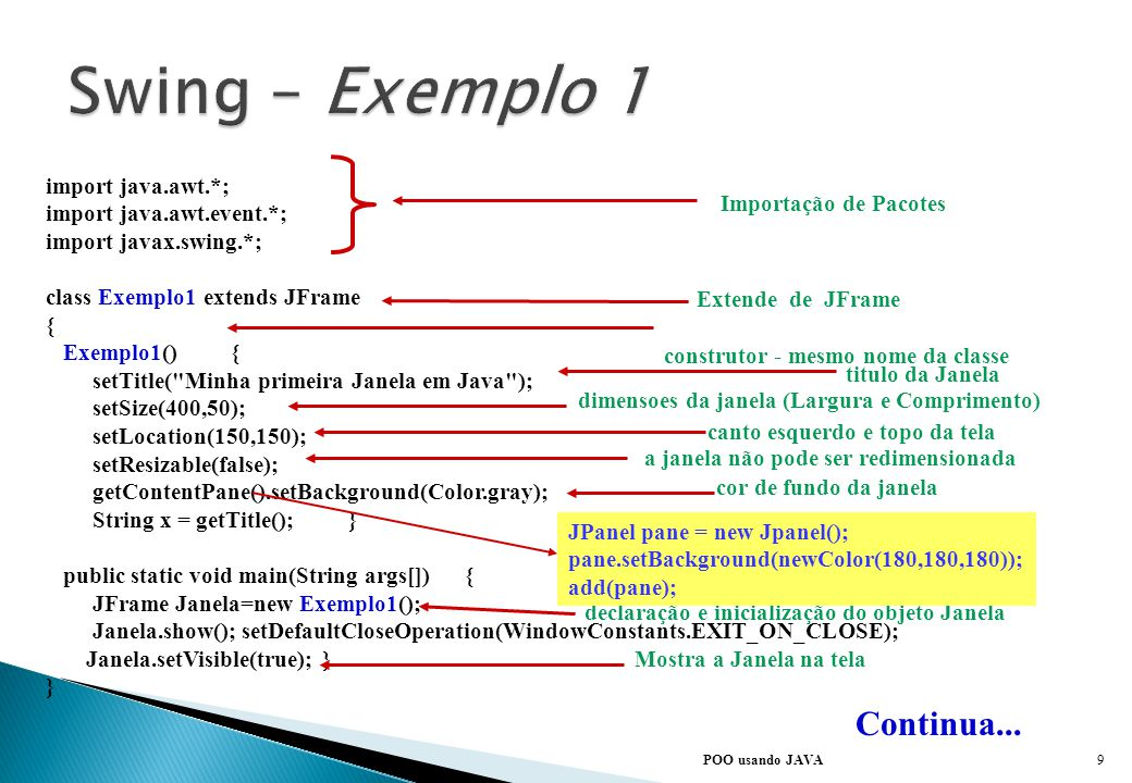 Swing – Exemplo 1 Continua... import java.awt.*;