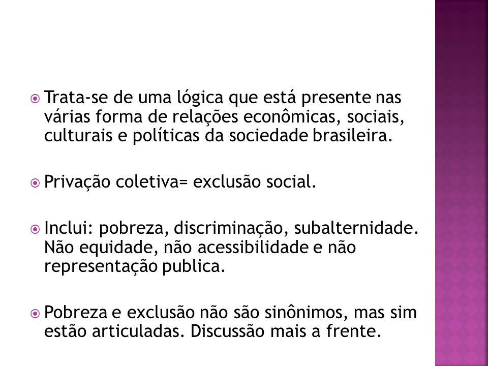 Trata-se de uma lógica que está presente nas várias forma de relações econômicas, sociais, culturais e políticas da sociedade brasileira.