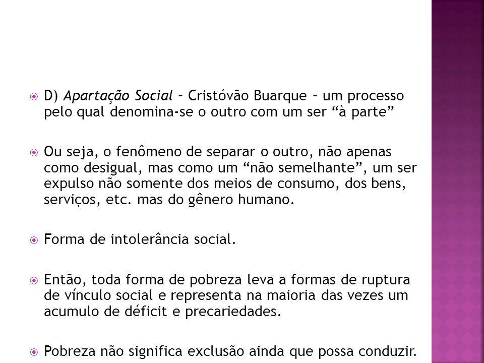 D) Apartação Social – Cristóvão Buarque – um processo pelo qual denomina-se o outro com um ser à parte