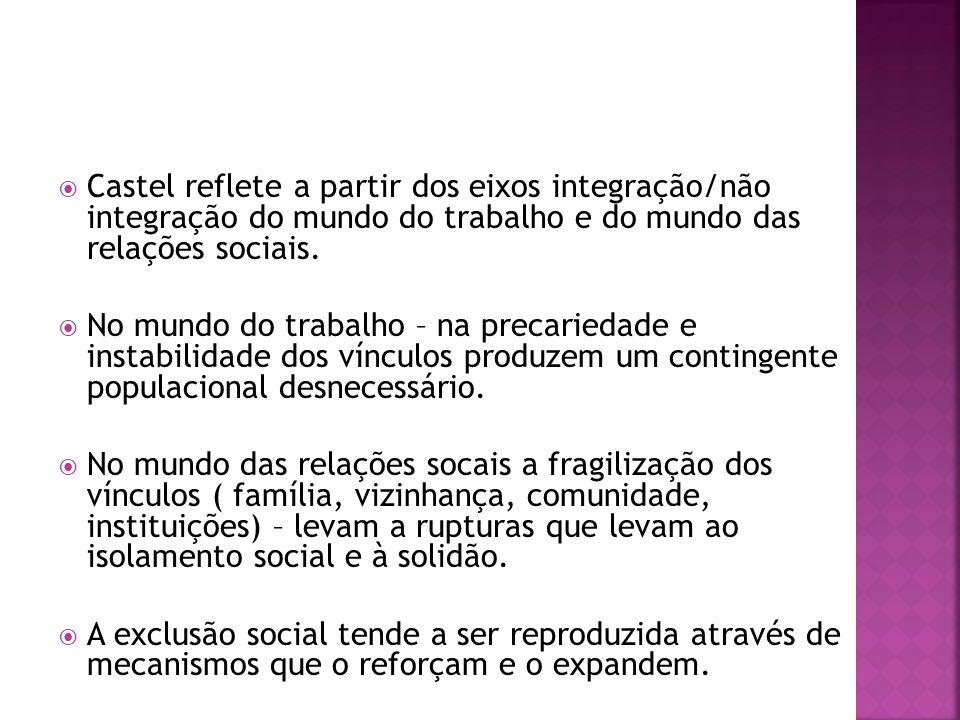 Castel reflete a partir dos eixos integração/não integração do mundo do trabalho e do mundo das relações sociais.