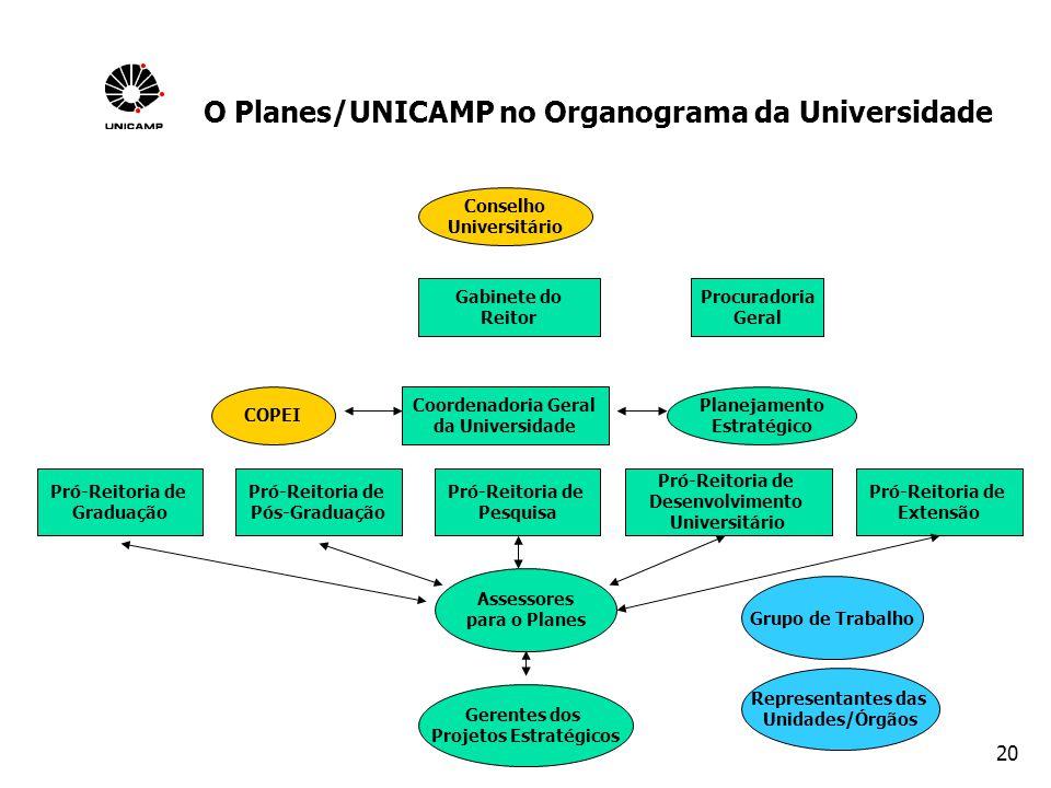 O Planes/UNICAMP no Organograma da Universidade Projetos Estratégicos
