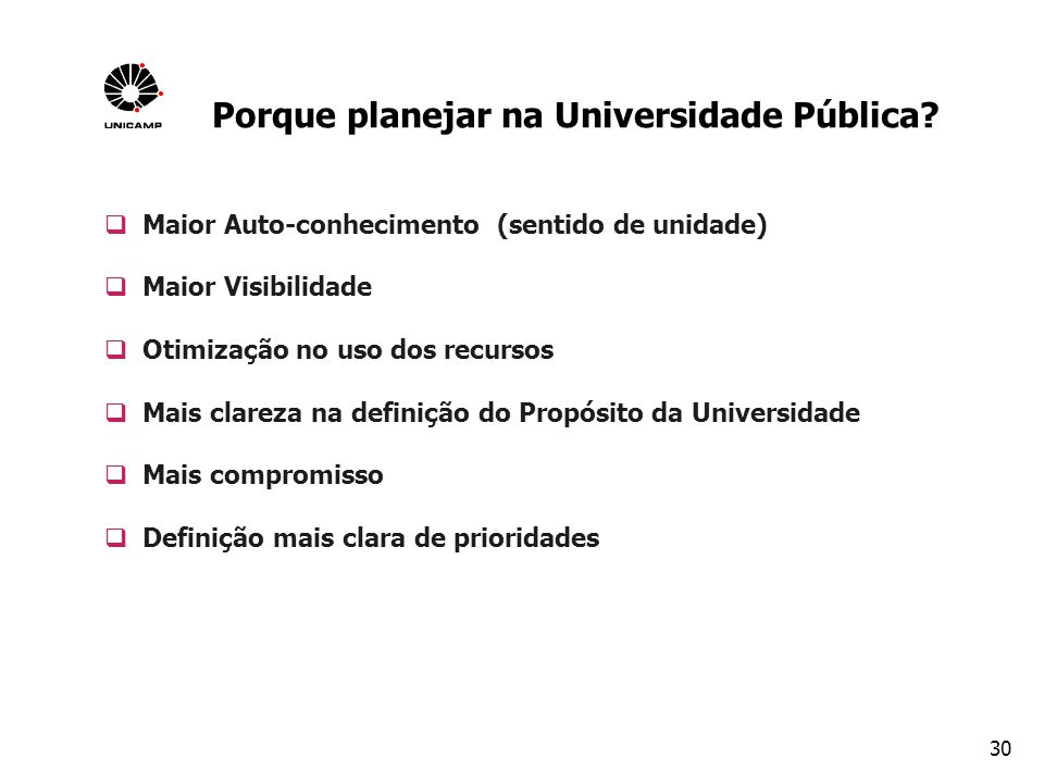 Porque planejar na Universidade Pública