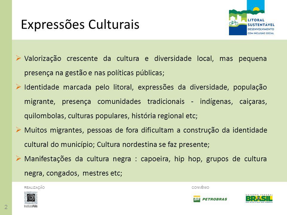 Expressões Culturais Valorização crescente da cultura e diversidade local, mas pequena presença na gestão e nas políticas públicas;