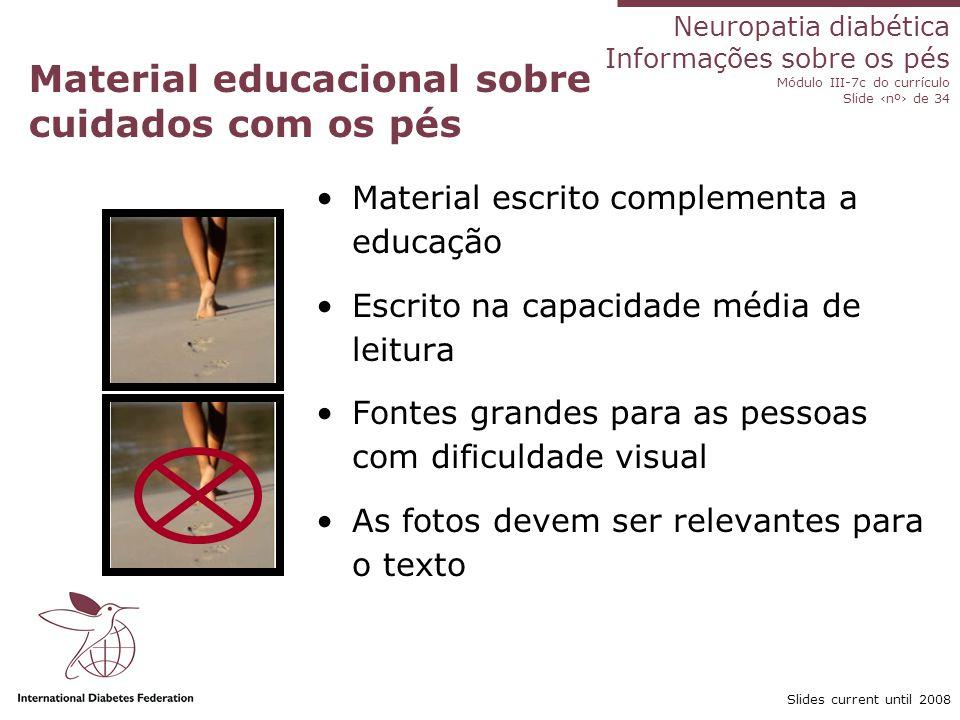 Material educacional sobre cuidados com os pés