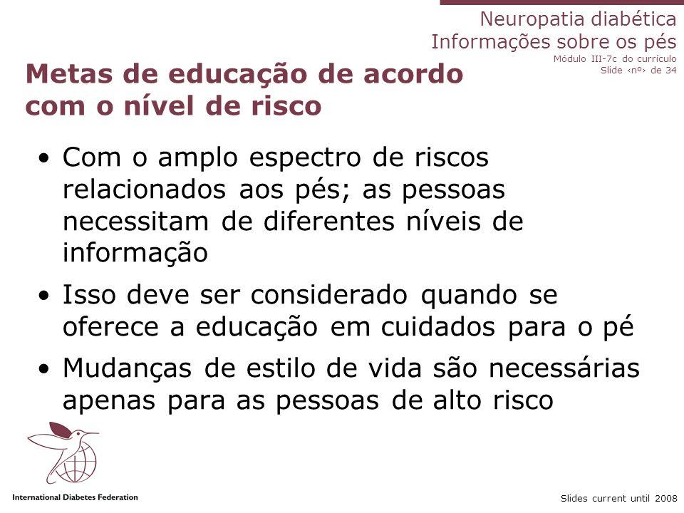 Metas de educação de acordo com o nível de risco