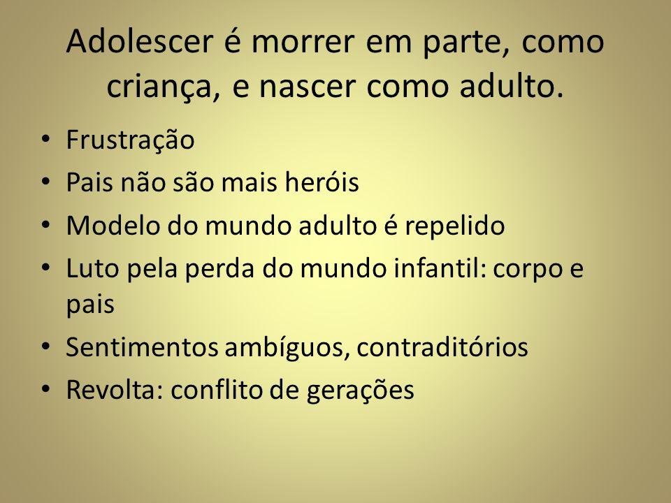 Adolescer é morrer em parte, como criança, e nascer como adulto.