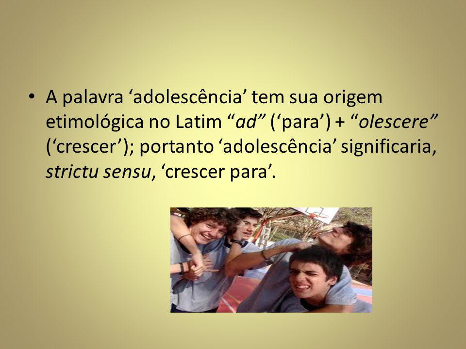 A palavra 'adolescência' tem sua origem etimológica no Latim ad ('para') + olescere ('crescer'); portanto 'adolescência' significaria, strictu sensu, 'crescer para'.