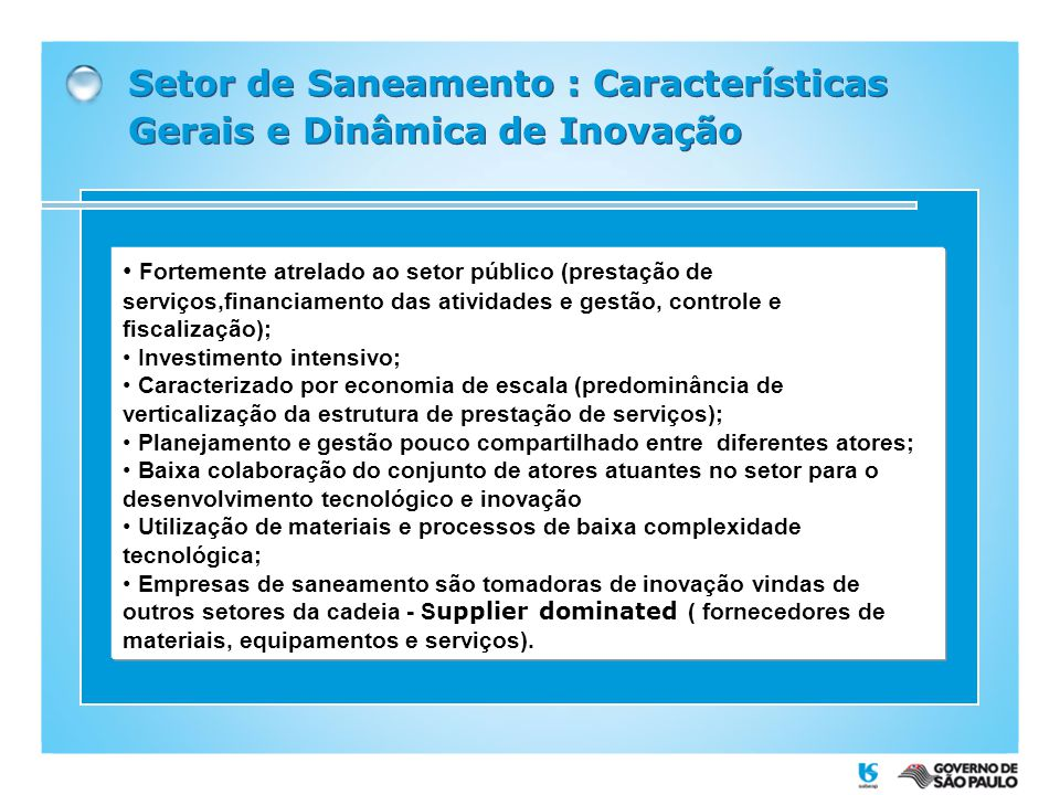 Setor de Saneamento : Características Gerais e Dinâmica de Inovação