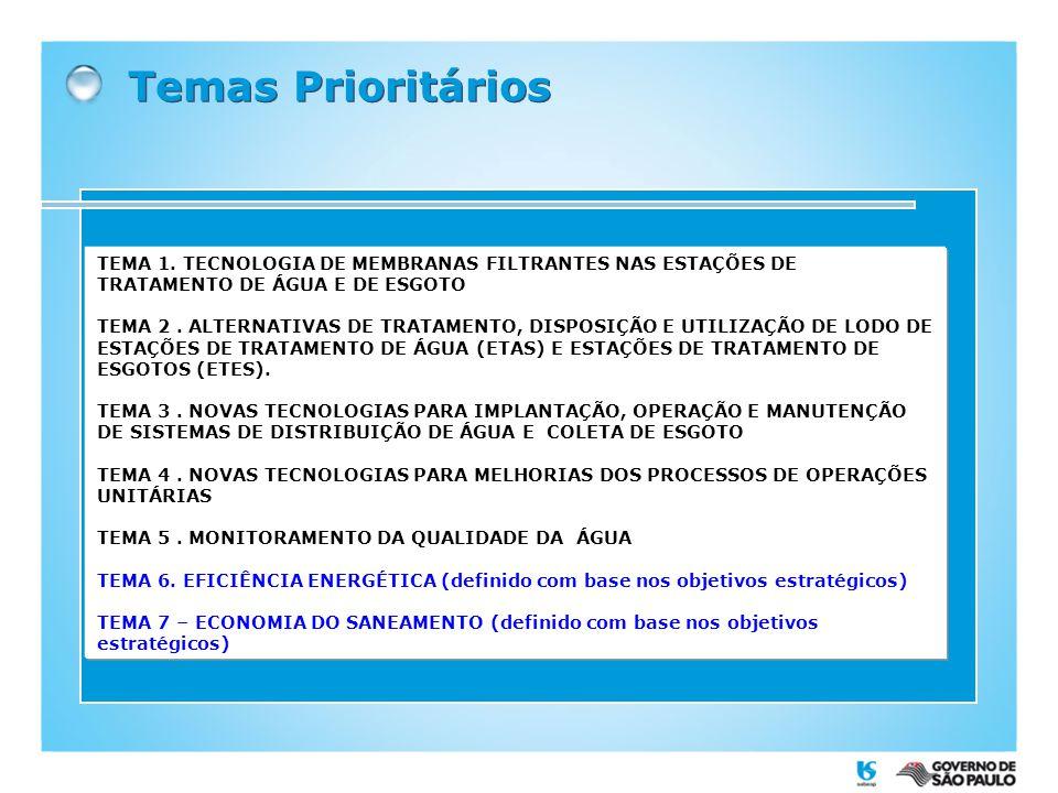 Temas Prioritários TEMA 1. TECNOLOGIA DE MEMBRANAS FILTRANTES NAS ESTAÇÕES DE TRATAMENTO DE ÁGUA E DE ESGOTO.