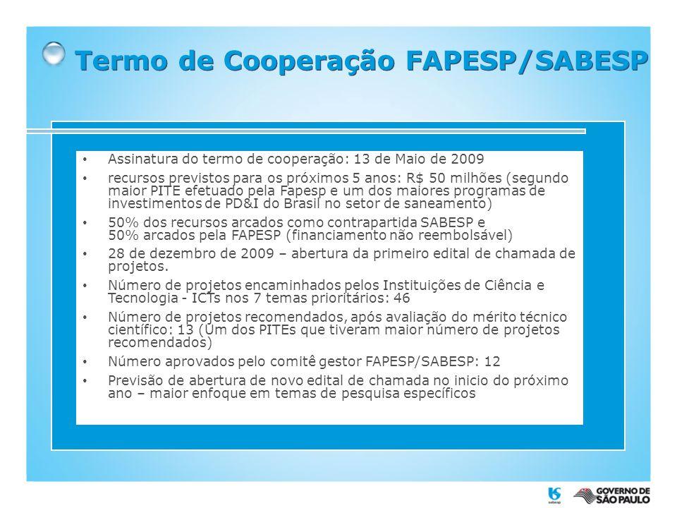 Termo de Cooperação FAPESP/SABESP