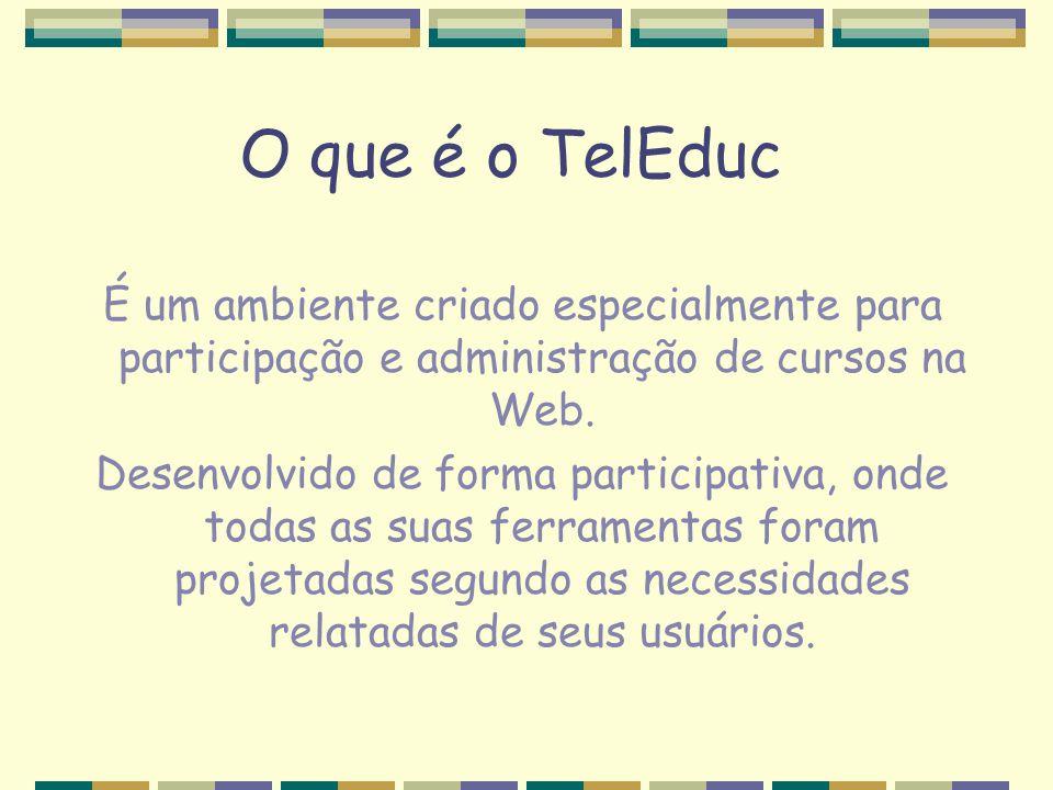 O que é o TelEduc É um ambiente criado especialmente para participação e administração de cursos na Web.