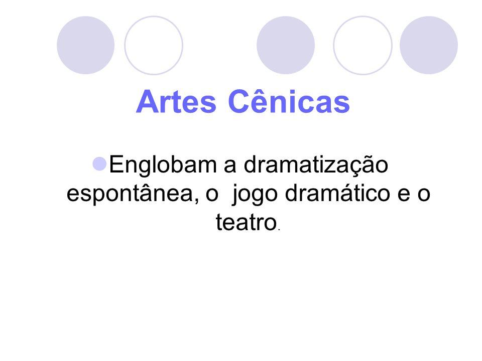 Englobam a dramatização espontânea, o jogo dramático e o teatro.