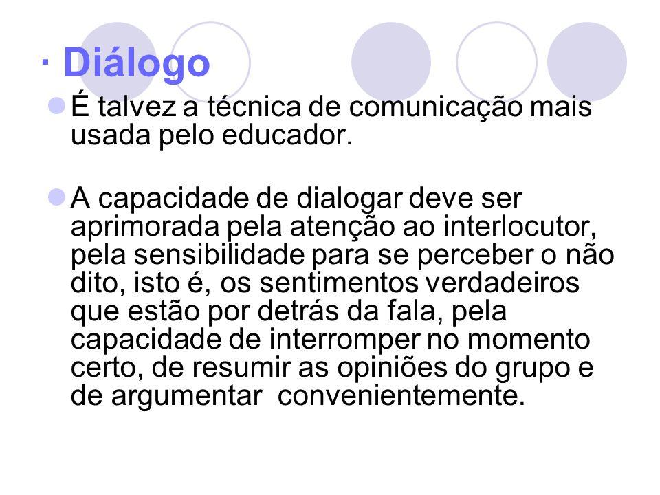 · Diálogo É talvez a técnica de comunicação mais usada pelo educador.