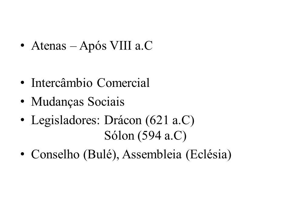 Atenas – Após VIII a.C Intercâmbio Comercial. Mudanças Sociais. Legisladores: Drácon (621 a.C) Sólon (594 a.C)