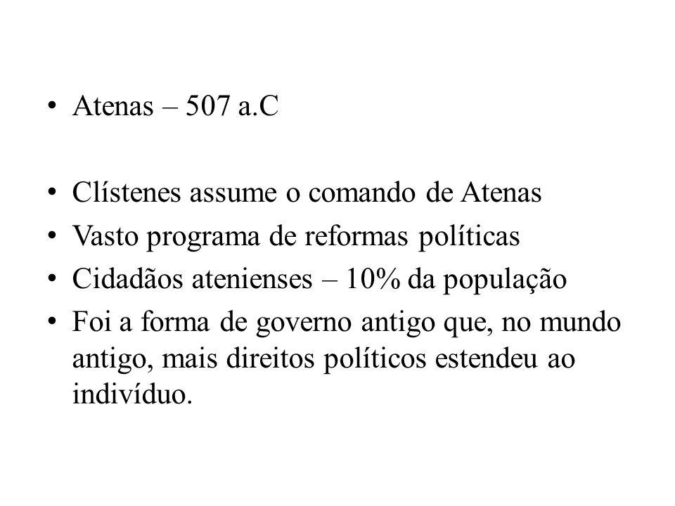 Atenas – 507 a.C Clístenes assume o comando de Atenas. Vasto programa de reformas políticas. Cidadãos atenienses – 10% da população.