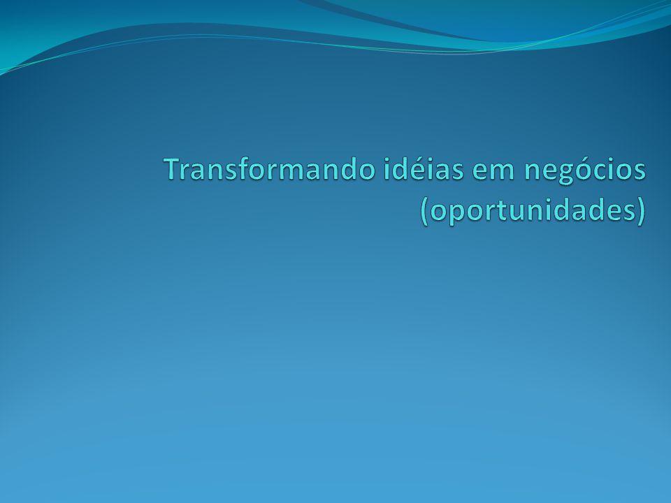 Transformando idéias em negócios (oportunidades)