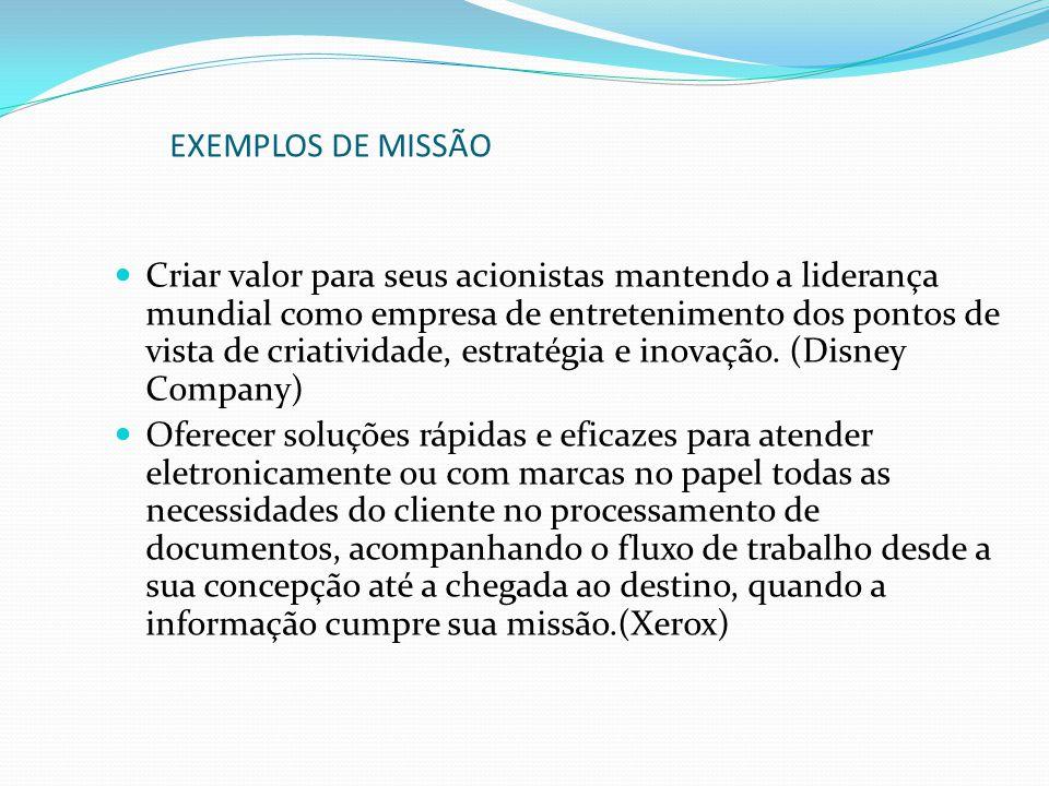 EXEMPLOS DE MISSÃO