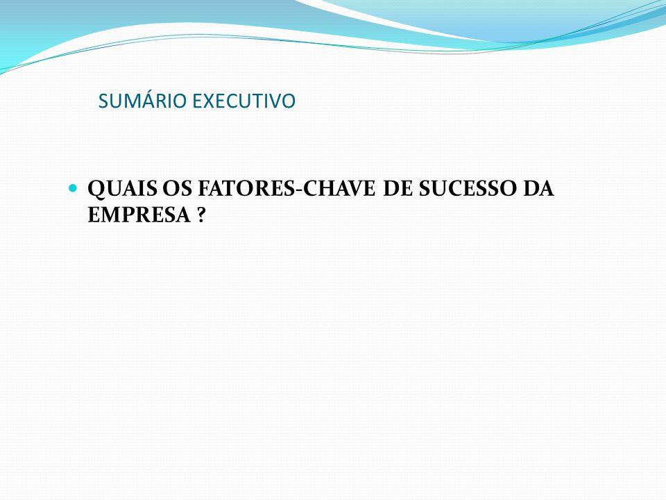 SUMÁRIO EXECUTIVO QUAIS OS FATORES-CHAVE DE SUCESSO DA EMPRESA