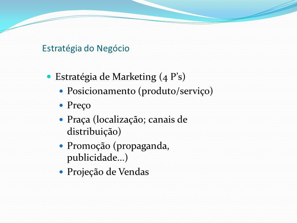 Estratégia do Negócio Estratégia de Marketing (4 P's) Posicionamento (produto/serviço) Preço. Praça (localização; canais de distribuição)