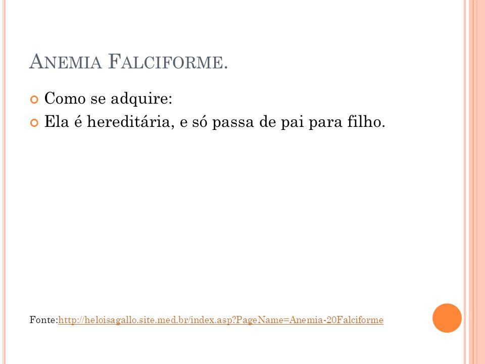 Anemia Falciforme. Como se adquire: