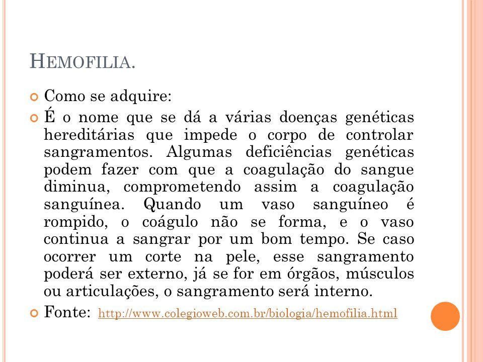 Hemofilia. Como se adquire: