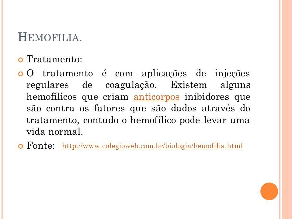 Hemofilia. Tratamento: