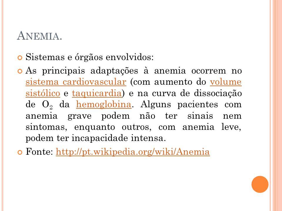 Anemia. Sistemas e órgãos envolvidos:
