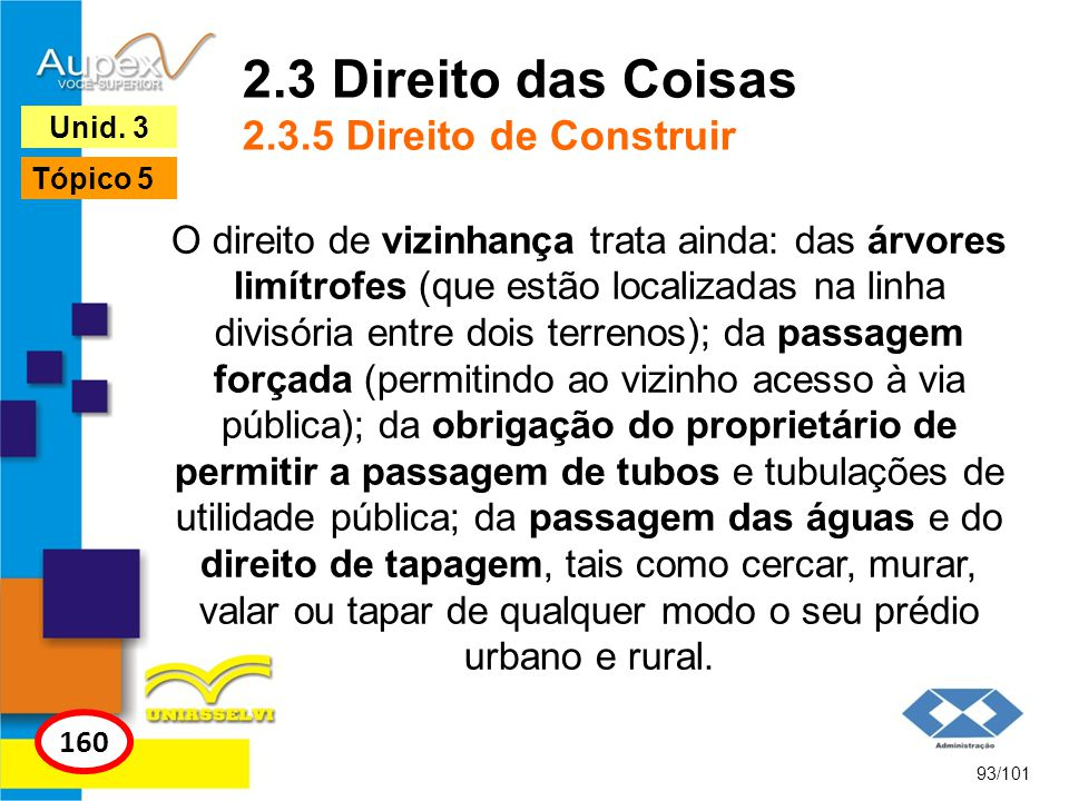 2.3 Direito das Coisas 2.3.5 Direito de Construir