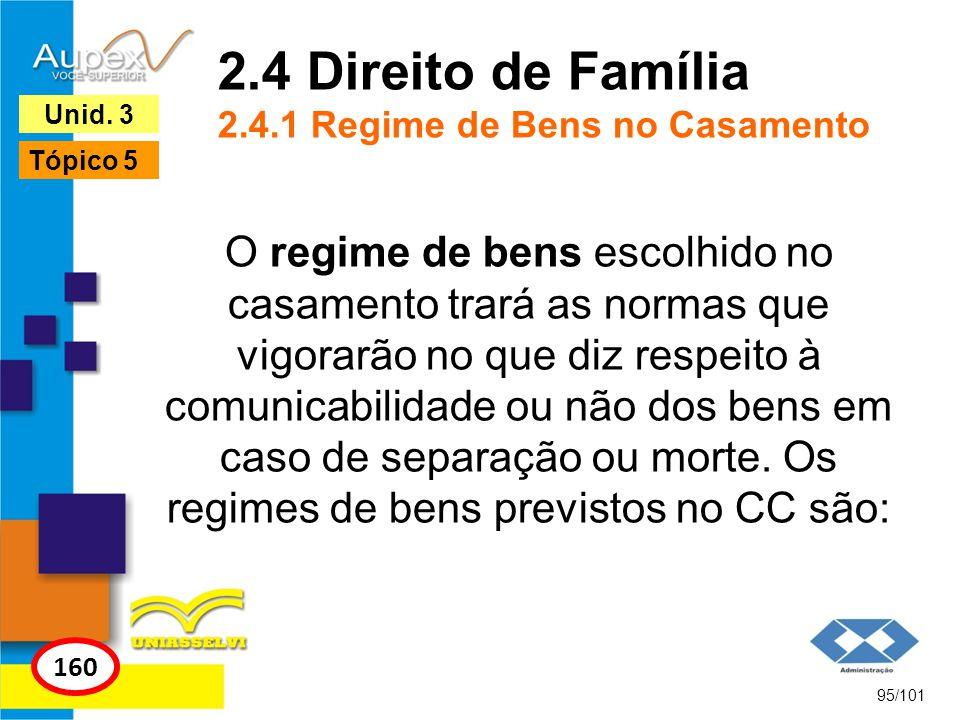 2.4 Direito de Família 2.4.1 Regime de Bens no Casamento