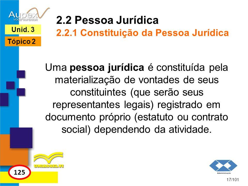 2.2 Pessoa Jurídica 2.2.1 Constituição da Pessoa Jurídica