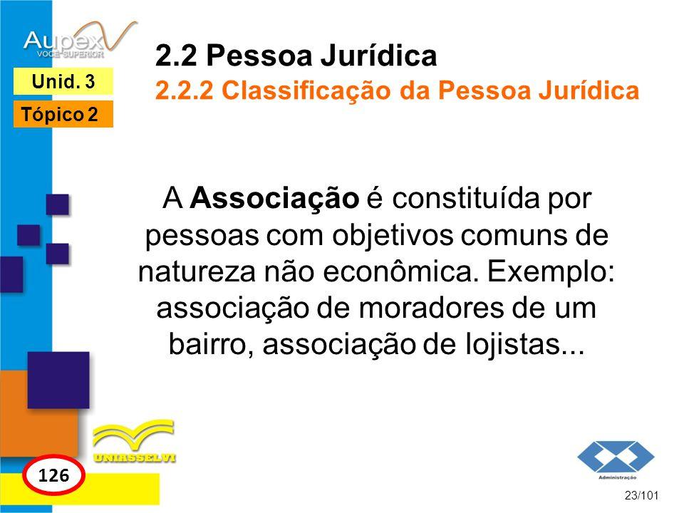 2.2 Pessoa Jurídica 2.2.2 Classificação da Pessoa Jurídica