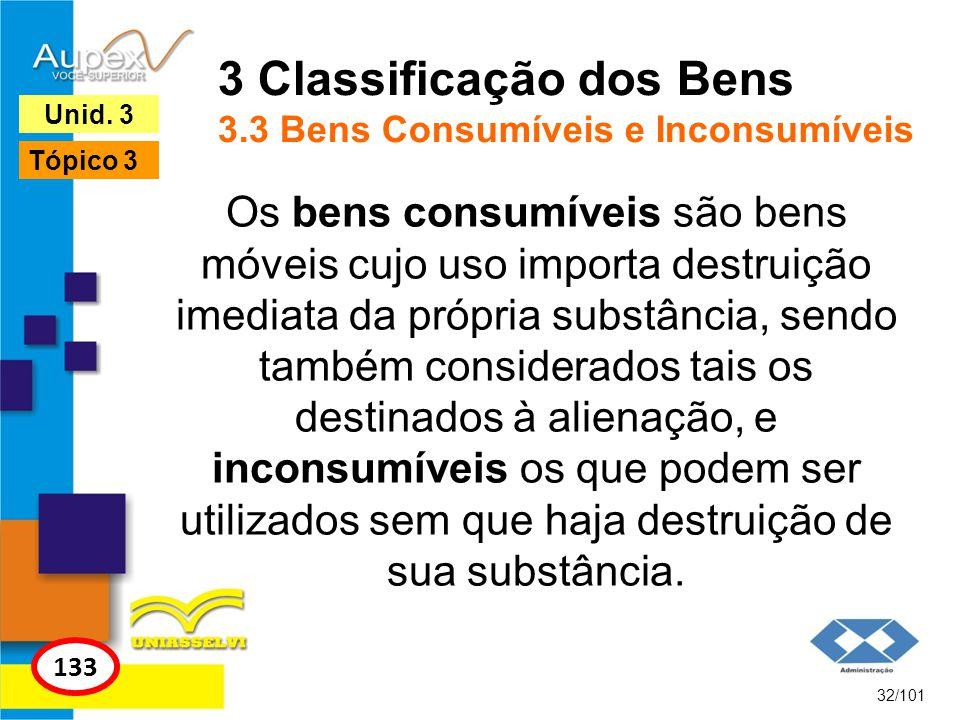 3 Classificação dos Bens 3.3 Bens Consumíveis e Inconsumíveis
