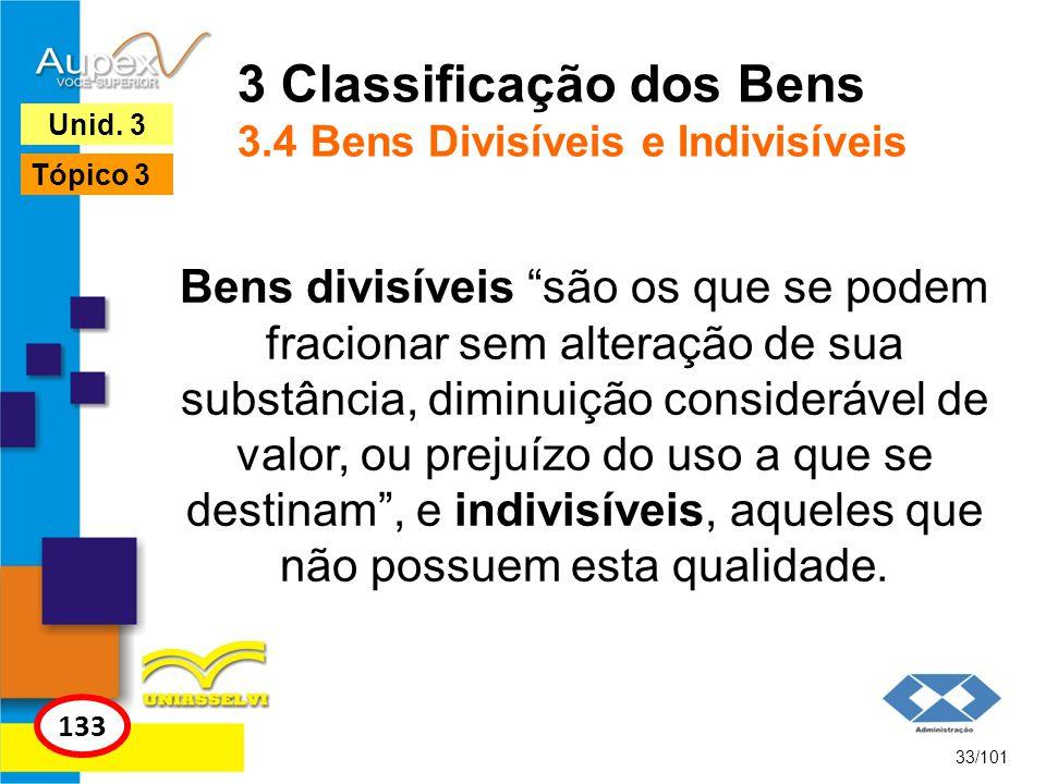 3 Classificação dos Bens 3.4 Bens Divisíveis e Indivisíveis