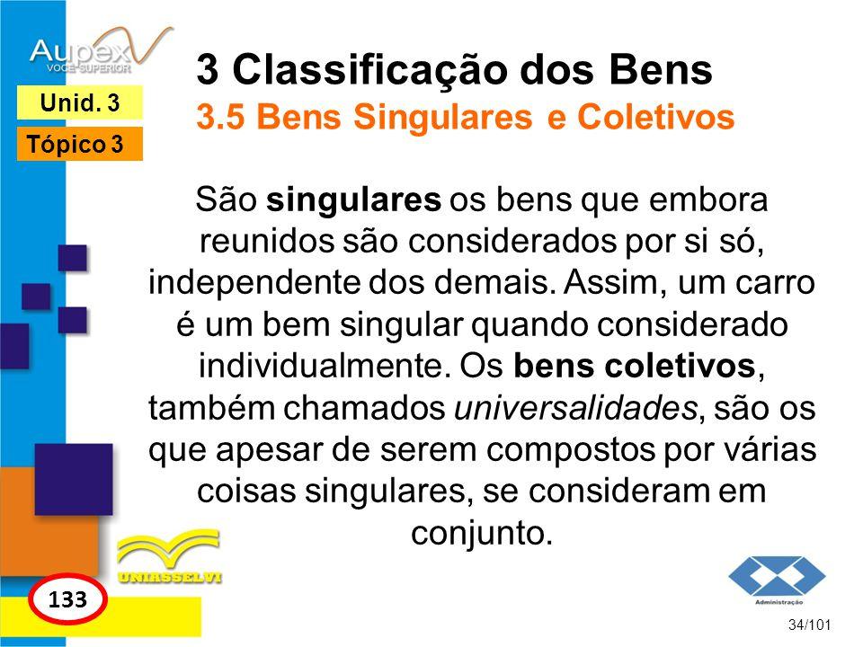3 Classificação dos Bens 3.5 Bens Singulares e Coletivos